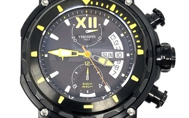 Visconti - Full Dive 500 Chrono Gun Yellow Tone Rubber Strap - KW51-05-Rubber - Men - NEW