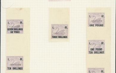 """Western Australia Revenue Stamps Internal Revenue 1882 Overprinted """"I. R."""" 3d. and 7/6d. to £10..."""