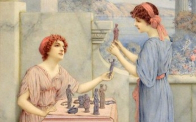 William Anstey Dolland (1858-1929) ''Connoisseurs'' Signed, watercolour, 50cm by 32.5cm...