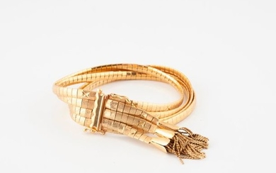 Yellow gold (750) bracelet with four rows of...