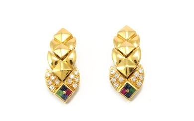 Yellow gold ear pendants with diamonds, rubies, sapphires and emeralds