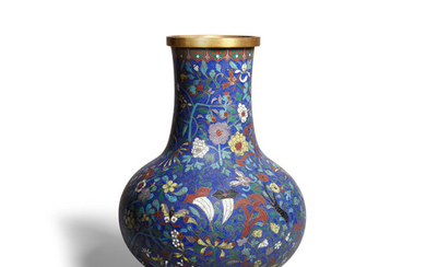 a blue ground cloisonné enamel vase