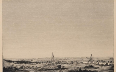 after Hercules SEGHERS(*1590), landscape with town and mill, Etching