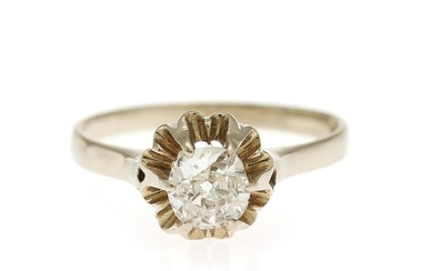 A diamond solitaire ring set with an old-cut diamond, mounted in 18k white gold. Size 56.5.