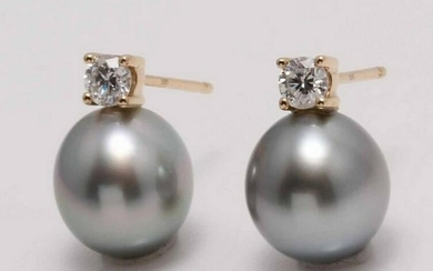 14 kt. Yellow Gold - 8x9mm Silvery Green Tahitian Pearl