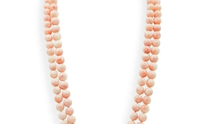 14k Gold and Angel Skin Coral Necklace