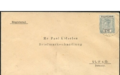 1897 registered envelope to Germany with 2/6d, cancelled Esh...