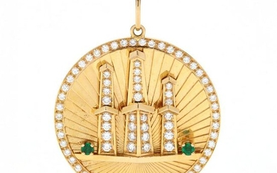 18KT Gold, Emerald, and Diamond Oil Well Pendant