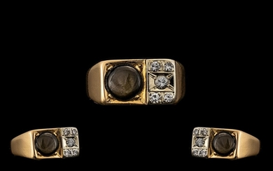 18ct Gold Black Star Sapphire and Diamond Ring - marked 18kt...