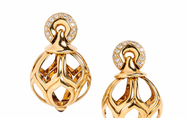 18kt Gold, Ruby, and Diamond Earrings, Bulgari