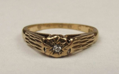 1976 9ct Yellow Gold Solitaire Diamond Ring UK Size K