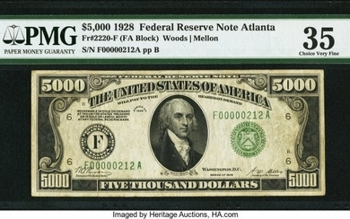 20092: Fr. 2220-F $5,000 1928 Federal Reserve Note. PMG
