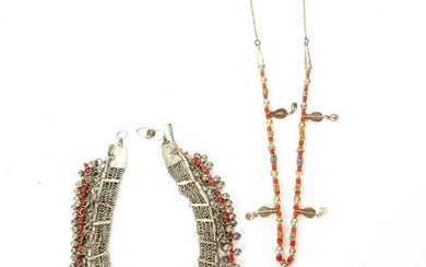20TH C. TRIBAL RED CORAL AND METAL HEADBAND, NECKLACE