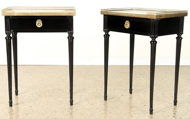 PAIR LOUIS XVI STYLE MARBLE TOP SIDE TABLES C1940