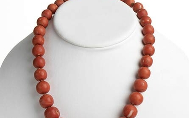 34 Cerasuolo coral (Corallium Elatius) graduated faceted beads necklace, low...