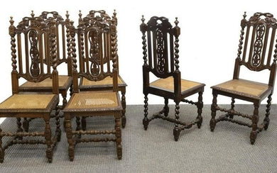 (6) FRENCH HENRI II STYLE OAK & CANE DINING CHAIRS
