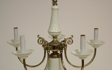 6 Light Porcelain and Brass Plated Chandelier