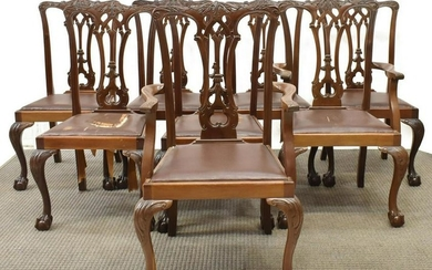 (8) CHIPPENDALE STYLE MAHOGANY DINING CHAIRS