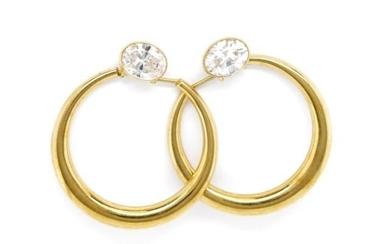 9ct yellow gold and cubic zirconia earrings marked 375 to bu...