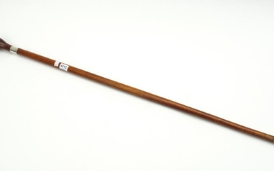 A 19TH CENTURY AUSTRALIAN BLACKWOOD SHAFTED WALKING STICK WITH SILVER BAND AND BALL TOP