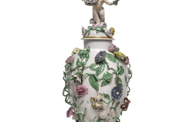 A Berlin (Wegely) porcelain baluster vase and cover, 1751-7