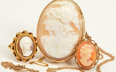 A CAMEO BROOCH, RING AND PENDANT, the ring depicting a lady ...