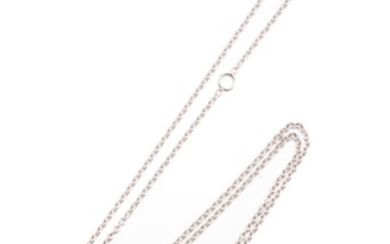 A CANTURI 18CT WHITE GOLD CHAIN; trace links to a parrot clasp, length 60cm, wt. 4.81g.