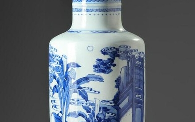 A CHINESE BLUE AND WHITE ROULEAU VASE,19TH-20TH CENTURY