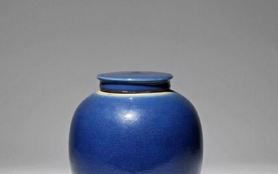 A CHINESE BLUE GLAZED OVOID VASE AND COVER....