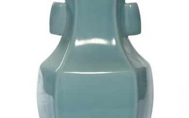 A CHINESE PALE BLUE HEXAGONAL VASE