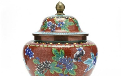 A Chinese Cloisonne Jar with Cover