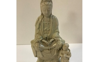 WITHDRAWN A Chinese blanc de chine figure of Guan Yin with a...