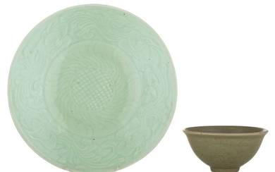 A Chinese celadon-glazed porcelain plate, impressed with floral...