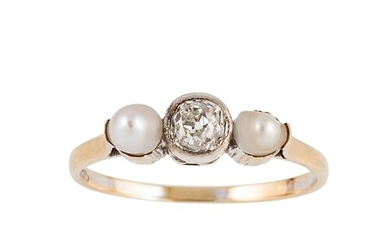 A DIAMOND AND PEARL THREE STONE RING, set with an old cut di...