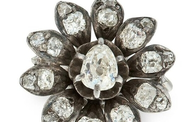 A DIAMOND CLUSTER DRESS RING set with a central pear