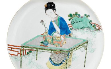 A FAMILLE VERTE 'LADY IN A GARDEN' DISH, KANGXI PERIOD (1662-1722)