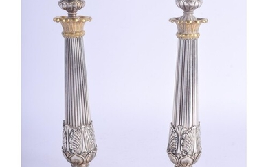 A FINE PAIR OF 19TH CENTURY FRENCH SILVER PLATED CANDLESTICK...