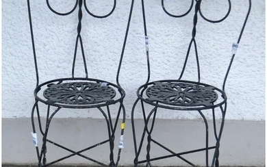 A French pair of 'dainty' wire work c1960's garden chairs pa...