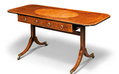 A GEORGE III BURR-YEW AND BURR-ELM SOFA TABLE