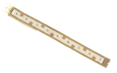 A GOLD AND TURQUOISE COCKTAIL BRACELET