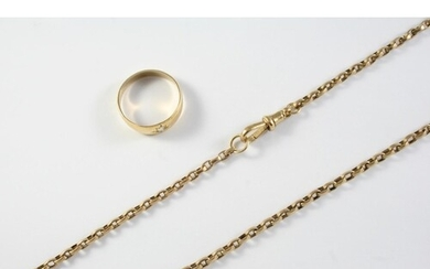 A GOLD WATCH CHAIN formed with oval-shaped links, 56.5cm lon...