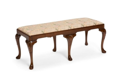 A George II style mahogany window bench