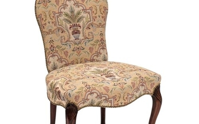 A George III mahogany frame salon chair:, in the French Hepp...