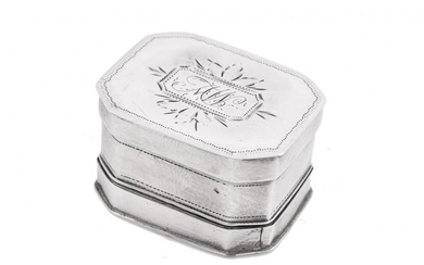 A George III silver canted-rectangular nutmeg grater by Thomas Willmore