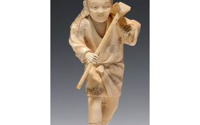 A JAPANESE SECTIONAL IVORY FIGURE OF A FARMER CARRYING A BAS...