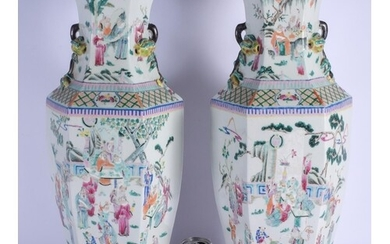 A LARGE PAIR OF LATE 19TH CENTURY CHINESE TWIN HANDLED FAMIL...