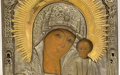A LARGE & IMPOSING RUSSIAN ICON, 19TH C.