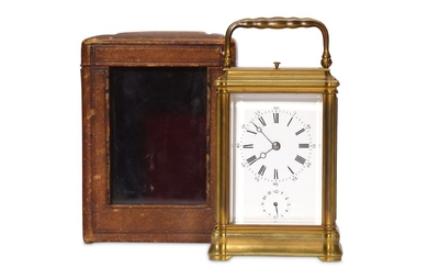 A LATE 19TH CENTURY FRENCH GILT BRASS QUARTER CHIMING CARRIAGE CLOCK