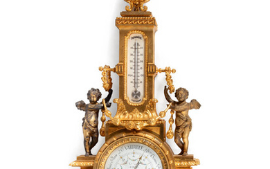 A Louis XVI Style Gilt Bronze Barometer and Thermometer