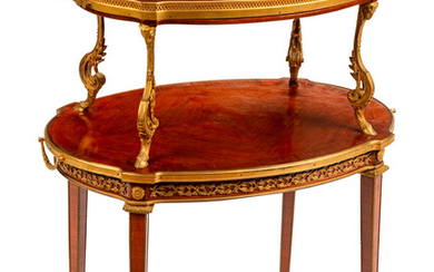 A Louis XVI Style Gilt Bronze Mounted Two-Tier Serving Table